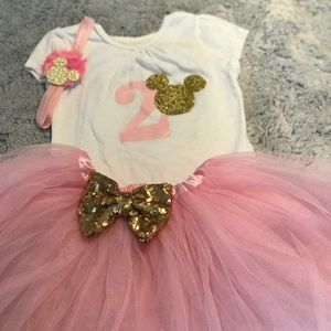 e2423ae1c0827 Matching Sets | Girl 2nd Birthday Outfit Minnie Mouse Pinkgold ...
